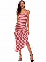 Red Sleeveless Striped Ruched Asymmetrical Dress