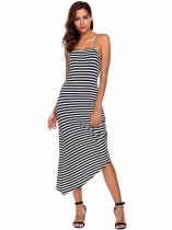 White Sleeveless Striped Ruched Asymmetrical Dress