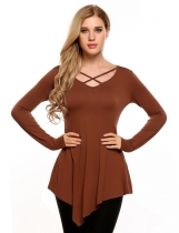 Khaki Front Cross V-Neck Long Sleeve Asymmetry Hem Solid Tops