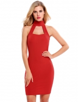 Red Stand Collar Hollow Out Elastic Chiffon Dress