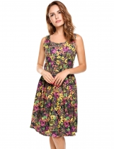 Floral Floral Printing Painted A-Line Casual Dress