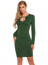 Army green Solid Backless Keyhole Bodycon Dress