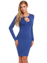 Blue Solid Backless Keyhole Bodycon Dress