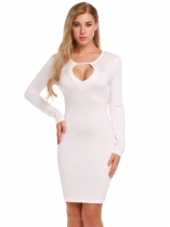 White Solid Backless Keyhole Bodycon Dress