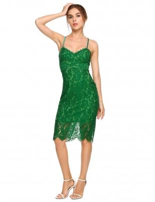 9c31d09ed Green Spaghetti Strap Tie Back Lace Pencil Dress