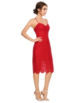 Rojo Mujeres Sexy sin mangas Backless florales Lace Evening Party Dress lápiz