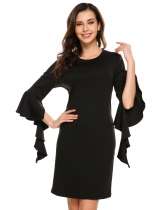 Black 3/4 Ruffles Sleeve Solid O Neck Sheath Dress