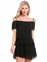 Black Short Sleeve Solid Ruffles Loose Dress