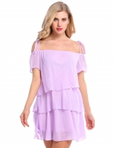 Purple Short Sleeve Solid Ruffles Loose Dress