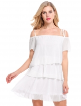 White Short Sleeve Solid Ruffles Loose Dress