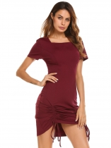Wine red Short Sleeve Solid Square Neck Drawstring Pencil Dress