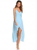 Blue Spaghetti Strap Sleeveless Solid Dress