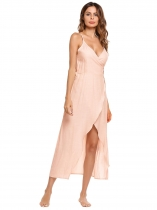 Pink Spaghetti Strap Sleeveless Solid Dress