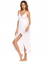 White Spaghetti Strap Sleeveless Solid Dress