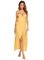 Yellow Spaghetti Strap Sleeveless Solid Dress