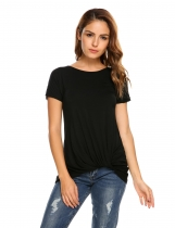 Black Solid Ruched Short Sleeve Irregular Hem T-shirts