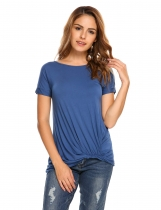 Blue Solid Ruched Short Sleeve Irregular Hem T-shirts