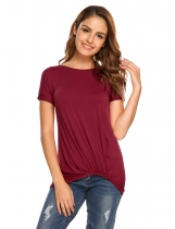 Wine red Solid Ruched Short Sleeve Irregular Hem T-shirts