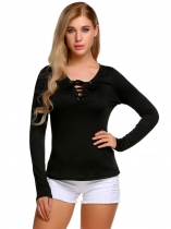 Black Zeagoo Lace Up Long Sleeve Solid Casual T-Shirt
