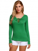 Green Zeagoo Lace Up Long Sleeve Solid Black Casual T-Shirt