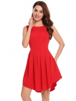 Wine red Women Casual Round Neck Sleeveless Pleated Asymmetrical Dress