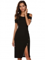 Black Cold Shoulder Short Sleeve Button Split Solid Dress
