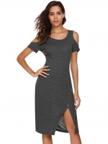 Dark gray Cold Shoulder Short Sleeve Button Split Solid Dress