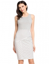 Gray Striped Patchwork Sleeveless Pencil Going Out Dress
