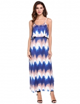 Spaghetti Strap Wave Striped Long Maxi Dress