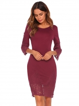 Wine red Women Round Neck 3/4 Sleeve Lace Patchwork Bodycon Party Dress