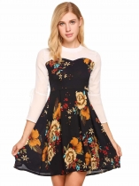 White black 3/4 Flare Sleeve Floral Patchwork Chiffon Short Dress