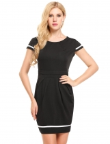 Noir Femmes Vintage Style Cap Sleeve Party Bodycon Dress