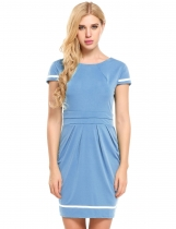 Blue Vintage Style Cap Sleeve Bodycon Dress