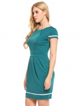 Green Vintage Style Cap Sleeve Bodycon Dress
