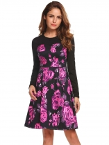 Purple Long Sleeve Floral Patchwork Short Dress
