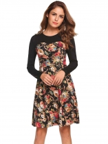 Khaki Long Sleeve Floral Patchwork Short Dress
