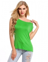 Green Sleeveless One Shoulder Solid Casual Slim Fit Tank Top