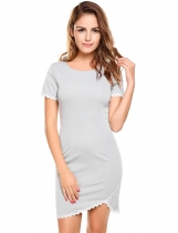 Grey O-Neck Short Sleeve Zipper Bodycon Irregular Hem Going Out Dress