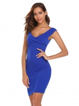 Royal Blue V-Neck Sleeveless Solid Pencil Dress