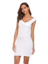 White V-Neck Sleeveless Solid Pencil Dress