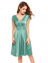 Green Cap Sleeve Solid Elegant V Neck Party Swing Dress