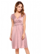 Femmes rose Cap occasionnel manche solide V élégant cou Swing Party Dress