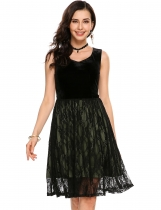 Army green Velvet Patchwork A-Line Lace Hem Tank Dress