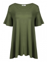 Army green Plus Size Solid Loose Fit Ruffles Short Sleeve O-Neck Tunics