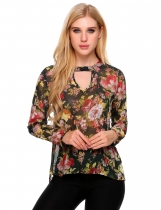 Green Sexy Keyhole Floral Print Long Sleeve Chiffon Blouse