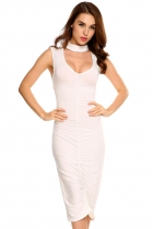 White Sleeveless Choker Solid Ruched Pencil Dress