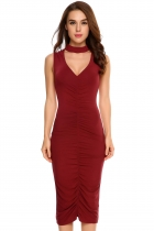 Wine red Sleeveless Choker Solid Ruched Pencil Dress