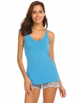 Blue Spaghetti Strap Sleeveless Solid Slim Fit Tank Tops