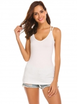 White Spaghetti Strap Sleeveless Solid Slim Fit Tank Tops