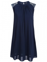 Navy blue Sleeveless Lace Patchwork Loose Casual Chiffon Dress